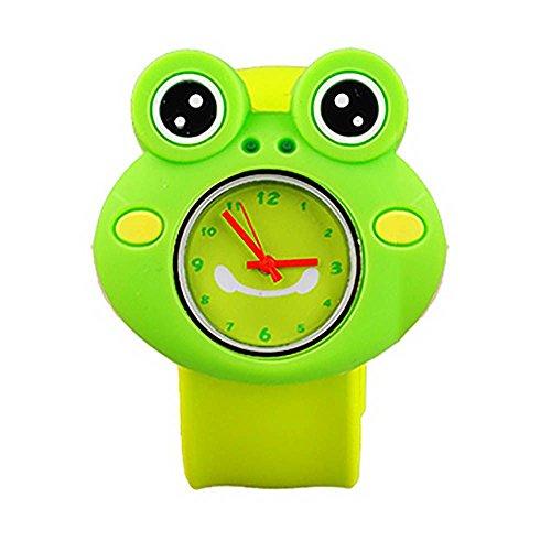 MMRM niños reloj de pulsera de silicona Animal lindo del dibujo animado reloj de cuarzo de Navidad regalo(Rana)