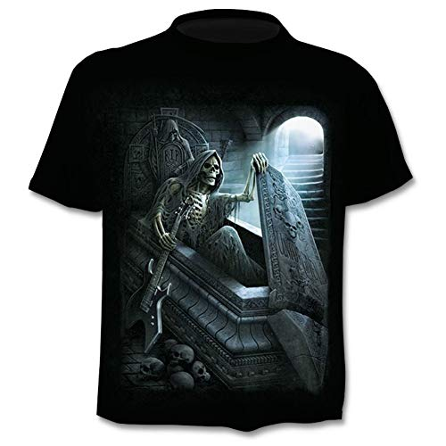 NSDX Herren 3D T-Shirt Sommer Neue 3D Schädel T Shirt Männer Kurzarm Shirt Lustige T Shirts Rock Japan Punk Anime Gothic Rock 3D T-Shirt Herrenbekleidung (Punk-rock-kleidung Für Frauen)