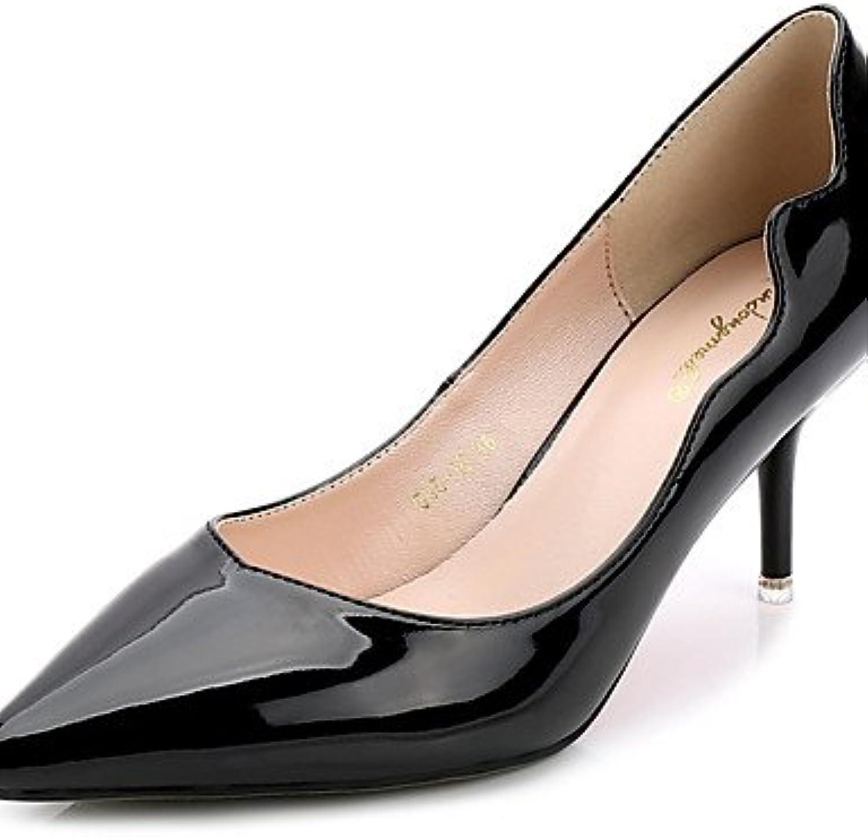 ZQ Zapatos de mujer-Tac¨®n Kitten-Puntiagudos-Tacones-Casual-PU-Negro / Azul / Gris / Bermell¨®n , gray-us8 /...