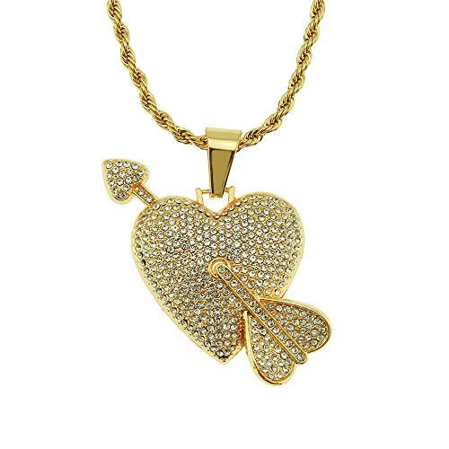 Kostüm Paar Amor - first123 Amors Pfeil Liebe Herz Anhänger Paar Halskette Unisex Hip Hop Diamant überzogene Halskette