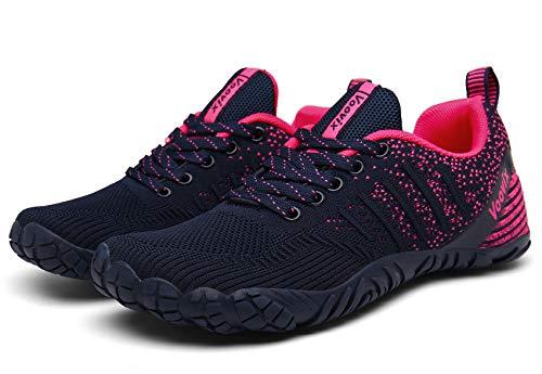 Voovix Herren Trekkingschuhe Damen Wanderschuhe Barfußschuhe Laufschuhe Traillaufschuhe Knit Sneaker Fitnessschuhe im Sommer blue/rose37