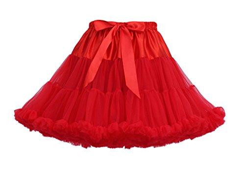 Donna multistrato Ruffle Frilly Petticoat Bubble Gonna Tutu Ballet Principessa Tutù Di Tulle Gonna Rosso
