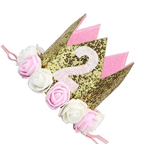 Jinzuke Baby-Jungen-Geburtstags-Blumen-Partei-Kappen-Stirnband 1/2 1 2 3 Jahr Anzahl Newborn Geburtstags-Hut