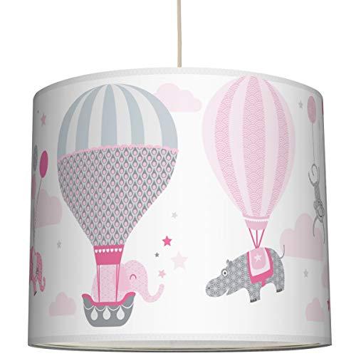 anna wand Hängelampe HOT AIR BALLOONS ROSA/GRAU - Lampenschirm für Kinder/Baby Lampe mit Heißluftballons - Sanftes Kinderzimmer Licht Mädchen & Junge - ø 40 x 34 cm