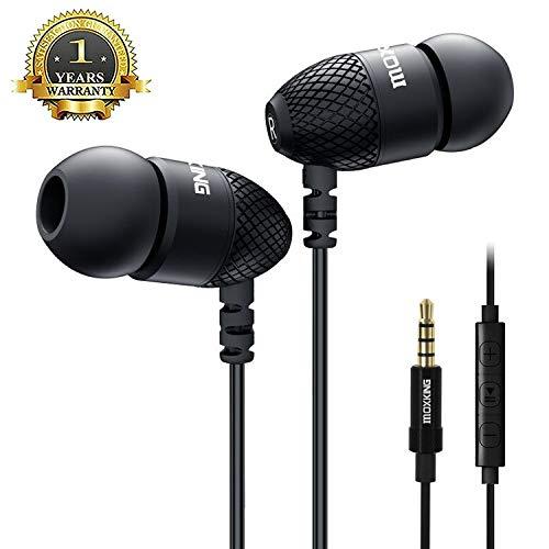 Moxking Ohrhörer mit Mikrofon und Lautstärkeregler, Stereo-In-Ear-Kopfhörer mit Super Bass, klarer Sound, bequemer Metall-Ohrhörer für iPhone, iPod, iPad, Samsung schwarz (Super 7 Pendel)