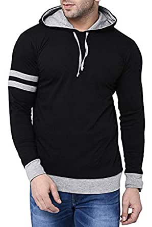 Fenoix Men's Cotton T-Shirt Hooded Black-Small
