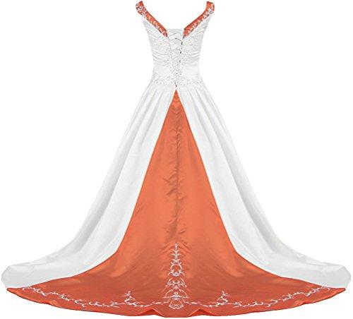 APXPF Damen V-Ausschnitt Satin Stickerei Hochzeitskleid für die Braut Zu 18 Plus Weiß und Orange