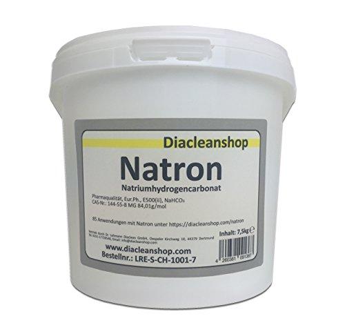 Natron 7,5 kg in pharmazeutischer Qualität – Natriumhydrogencarbonat (E500ii) - Backsoda - Bakingsoda - Basenbad - Hausmittel zum Backen, Reinigen, Baden, Gerüche Neutralisieren & DIY-Kosmetik