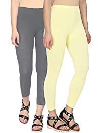 ed060407a672f Alena Cotton Lycra Women Steel Grey and Flax Color Ankle Length Leggings