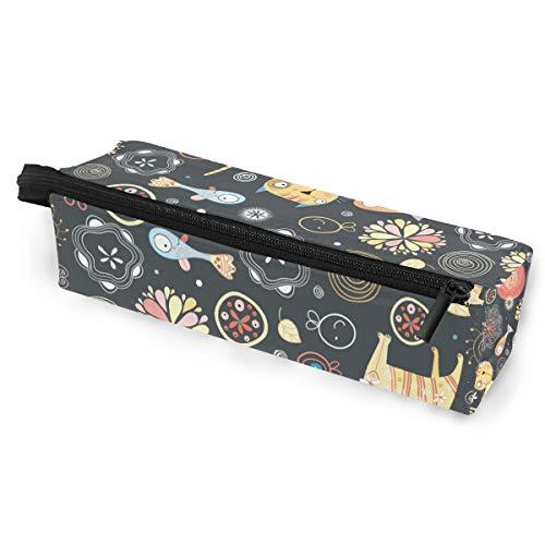 Pencil Bag Case Sonnenbrille Blumenmuster der Katzen und Fische Kosmetik Studenten Briefpapier Beutel Reißverschluss für Mädchen