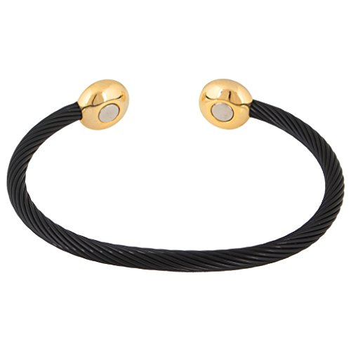 The Jewelbox Bio Magnetic Designer Black 18K Gold Plated Surgical Stainless Steel Cuff Kada Bracelet for Men  available at amazon for Rs.492