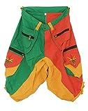 ImZauberwald grün gelb rote Goa Shorts mit Rasta Hanf Stickerei - Kurze Hose mit vielen Taschen - Grössenverstellbar Dank Zwei Knöpfen - gemütlich und praktisch