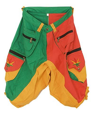 ImZauberwald grün gelb rote Goa Shorts mit Rasta Hanf Stickerei - Kurze Hose mit vielen Taschen - Grössenverstellbar Dank Zwei Knöpfen - gemütlich und praktisch (Rasta Herren Shorts)