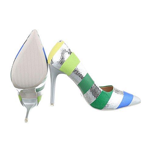 Ital-Design - Scarpe con plateau Donna Silber Multi