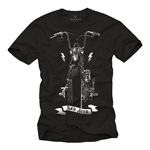 MAGLIETTA MOTOCICLISTA - T-shirt con stampa moto chopper harley uomo - Sons of Anarchy nera M