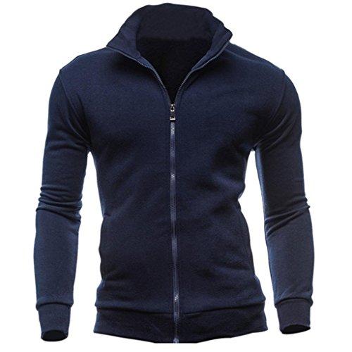 Paolian Veste de Pull à glissière Vintage pour Hommes, Veste d'hiver Chaude Confortable Confortable