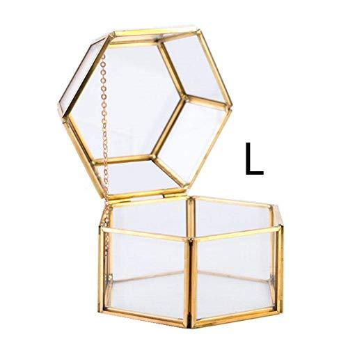 Glas-Terrarium, Glas, Blumenkasten, sechseitig, für Sukkulenten, Farn, Moos, Luftpflanzen, Halter für Hochzeit, Couchtisch Gold