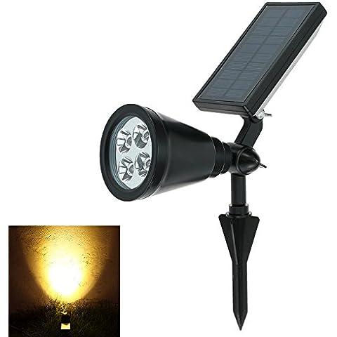 Docooler 2W Lampada da Giardino 4 LEDs 120° Regolabile Senza Fili con 60° Regolabile Pannello