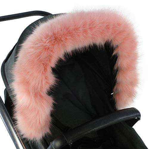 For-Your-Little-One Fur Hood Trim Pram Compatible on Silver Cross, Pink  For-Your-Little-One Ltd.