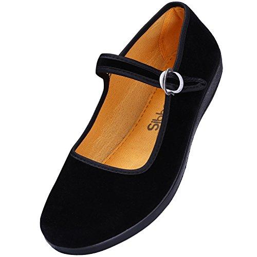 Janes Mary Schwarz Schuhe (Mary Jane Schuhe, Flache Ballettschuhe, Yoga Schuhe von Baumwolle, Stoffschuhe, Tucch schuhe , chinesische Schuhe f¨¹r Dame (EU40/255mm,)