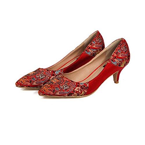 OCHENTA Femme Escarpins Mariage Rouge Talon Aiguille en Satin Elegant Rouge 5.5CM