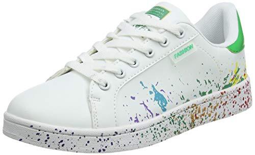 Top Fashion Sneaker (JEDVOO Homme Femme Sneaker Low Top Turnschuhe Sportschuhe Freizeitschuhe Bunte Stoffschuhe(XCX800Green40))
