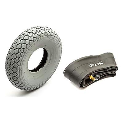 Tyre & Innertube 330x100 Grey Diamond Block Tread Fits Mobility Scooter 5 Inch Wheel Rim 4 Ply