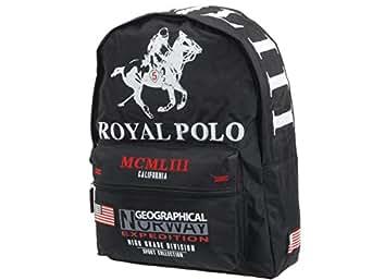 Royal polo club - Sablon noir royal polo - Sac à dos collège - Noir - Taille Unique