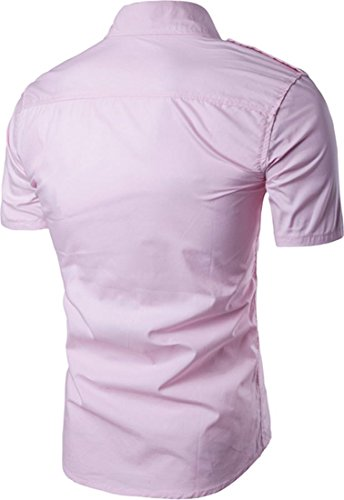 Jeansian Hommes Mode Casual Chemises Manche Courte Men's Fashion Slim Short Sleeves Dress Shirts Tops 84P4 pink
