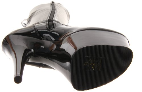 Pleaser Adore-3000, Bottes non doublées arrivant au dessus du genou femme Noir (Blk Str Pat/Blk))