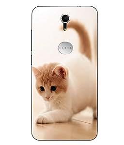 Make My Print Cat Printed White Soft Back Cover For Swipe Elite Plus
