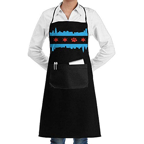 Miedhki Unisex Long Aprons Chicago Flag, Skyline Dog Paw Tea Shop Sleeveless Anti-Fouling Overalls Portable Pocket Design