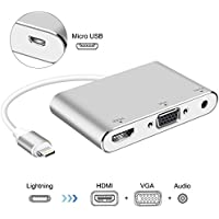 Lightning – Digitaler AV-Adapter, ink-topoint Lightning auf HDMI & VGA & Audio Video Conversion Adapter mit Micro USB Ladekabel für Apple iPhone iPad