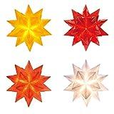 Bascetta-Stern Set, 7,5x7,5cm, 4x 32 Blatt, weiß, gelb, rot, orange Transparentpapier 115g/m²