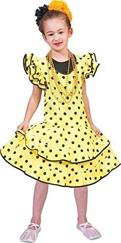 Flamenco Kleid zum Samba Kostüm für Mädchen Gr. 164 - Spanierin Brasilianerin Länderfasching Verkleidung ...