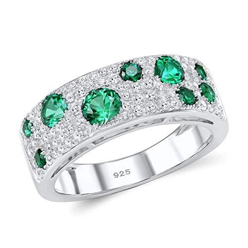 CCWANRZ Verlobungs- / EheringSilberringe für Frauen Green Nano White Zirkonia Jubiläumsring Pure 925 Sterling Silver Party Modeschmuck, 6.75