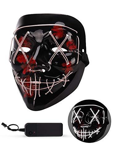 mayizhong Beängstigend Halloween Maske, LED Leuchten Maske Cosplay, Glühen in der dunklen Maske Kostüm 3 Beleuchtung Modi, Halloween Gesichtsmasken für Männer Frauen Kinder - - Awesome Kostüm Männer