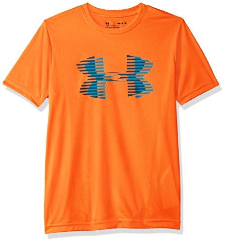 Under Armour Jungen Tech Big Logo Solid Tee Kurzarmshirt, Magma Orange/Deceit/Techno Teal (889), YLG