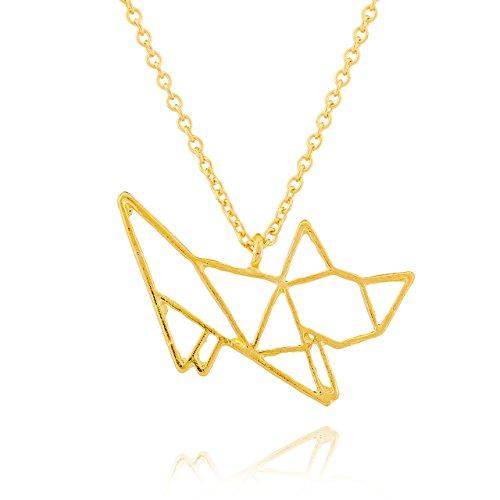 Selia Origami Katzen Halskette Kitty Kette Statement minimalistisch Cat handgemacht (Kitty Gold)