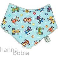 Baby-Halstuch Dreieckstuch mit Rennautos auf hellblau, Baumwoll-Teddyplüsch natur, 97% Baumwolle, 3% Elasthan
