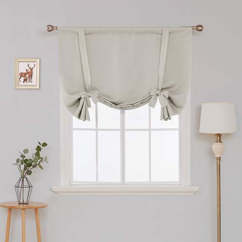 Deconovo Thermogardinen Raffrollos mit Stange Tasche Verdunkelungsgardinen Blickdicht Vorhang 175x140 cm Creme 2er Set