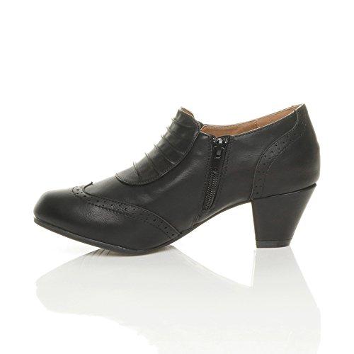 Damen Mitte Blockabsatz Knopf Elegant Arbeit Brogue Knöchel Stiefeletten Größe Schwarz Matt
