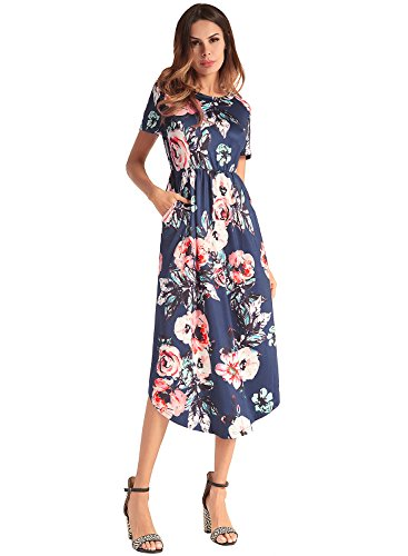 Frauen Kurzarm-Abend-Party Midi Blumenseide gefaltet Vintage Maxi Kleid Marine M Frauen Maxi Abend Kleider