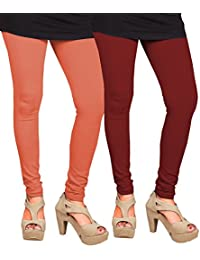 CAY 100% Cotton Combo of Orange and Maroon Color Plain, Stylish & Most Comfortable Leggings For Girls & Women with Full Length (SIZE : Free Size)