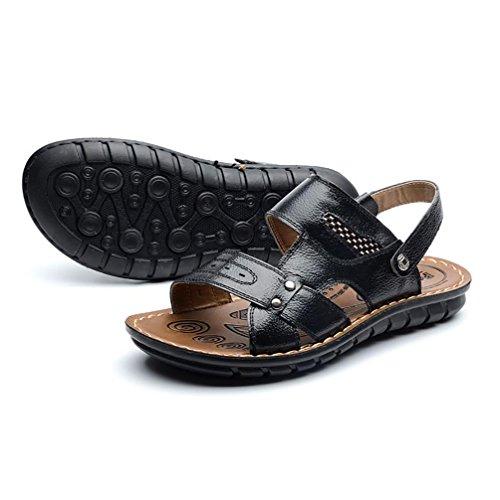SHANGXIAN Herren Schuhe New Style heißer Verkauf Outdoor Casual Komfort Leder Strandsandalen Braun Schwarz Orange Black