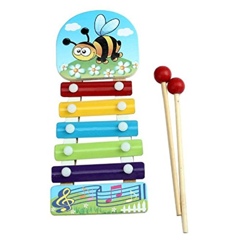 Vovotrade Juguetes musicales de madera de 5notas xilófono para niños