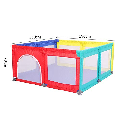 Playpen Portable Baby Play Yard for Toddler Indoor and Outdoor with Mat & Balls, Tall 70cm (Can Be Used on The Bed) (color : Multicolor, Size : 150x190cm)  ERRU