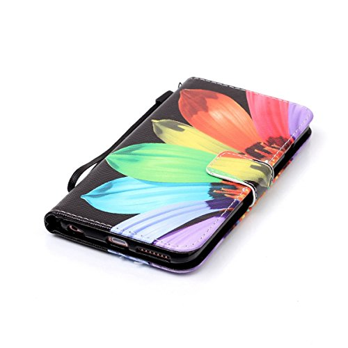 Cover iPhone 6 Plus ISAKEN Drawing Pattern Design Elegante borsa Custodia in Pelle PU per iPhone 6S Plus Sintetica Rigida Case Cover Protettiva Flip Portafoglio Case Cover Protezione Caso con Supporto sunflower
