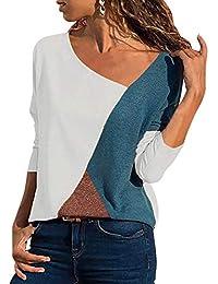 3b61c4b9650 Yidarton Femmes Casual Lache Col en V Asymétrique T-Shirt Manches Longues  avec Patchwork Bloc de Couleur Haut Tops Blouse Tunique…