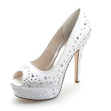 Wuyulunbi@ Scarpe donna raso Primavera Estate della pompa base scarpe matrimonio Stiletto Heel Peep toe strass per la festa di nozze & sera rosso Rosa Blu US9 / EU40 / UK7 / CN41